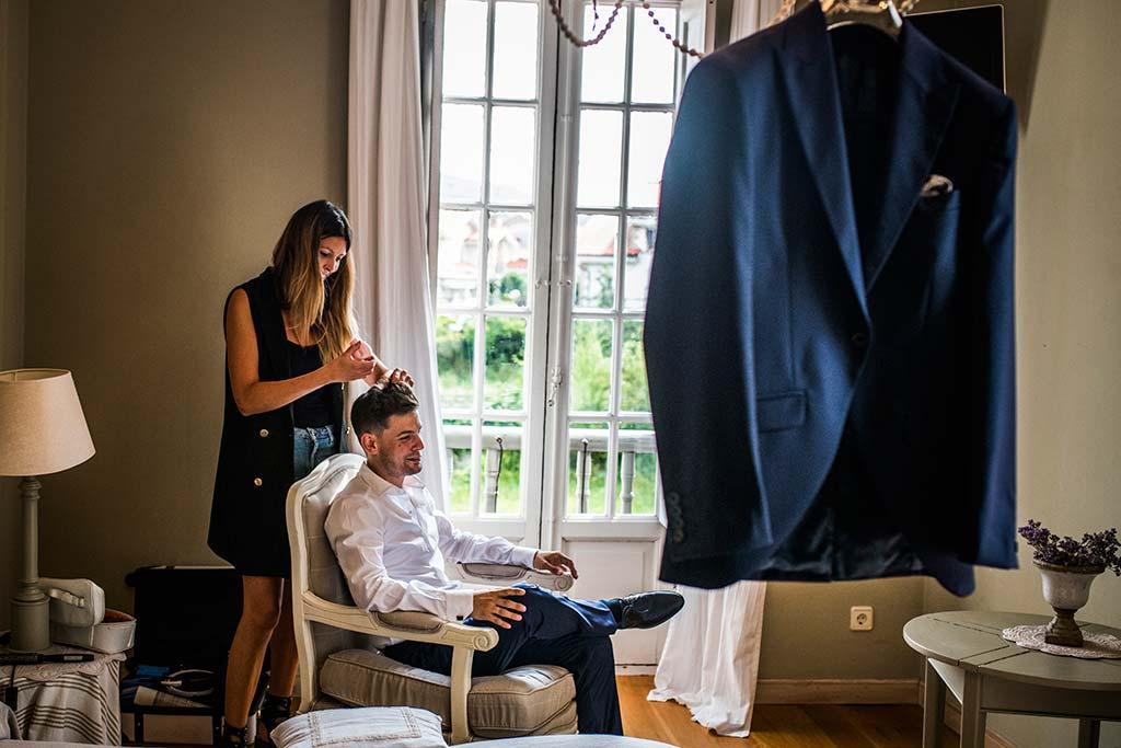 Fotógrafo de bodas Cantabria Marcos Greiz Ane y Felix pelo novio