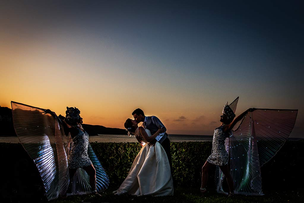 fotografo bodas Santander Magy Ivan beso atardecer
